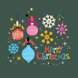 Rétro carte de voeux de Joyeux Noël Image stock