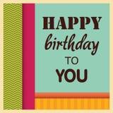 Rétro carte de voeux de style de joyeux anniversaire Image libre de droits