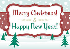 Rétro carte postale de Noël Images libres de droits