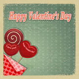 Rétro carte pour le jour de Valentine Photos libres de droits