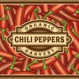 Rétro Chili Pepper Harvest Label illustration libre de droits