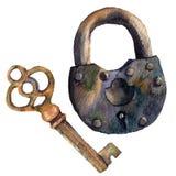 Rétro clé et cadenas d'aquarelle Illustration peinte à la main de vintage sur le fond blanc Pour la conception, les copies ou le  Image stock