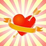 Rétro coeur avec le ruban Photo libre de droits