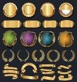 Rétro collection d'or de labels et de boucliers de rubans illustration libre de droits