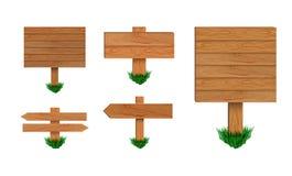 Rétro collection d'enseignes de vecteur sur le fond blanc, collection en bois de signe de flèche avec l'herbe verte illustration de vecteur