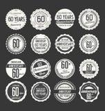 Rétro collection d'insigne d'anniversaire, 60 ans Photo libre de droits