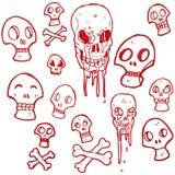 rétro collection de crânes de bande dessinée Photo libre de droits