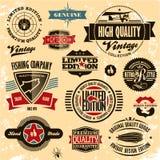 Rétro collection de cru d'étiquettes et d'insignes de type. Image libre de droits