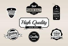 Rétro collection de la meilleure qualité d'étiquettes de qualité et de garantie Photo stock