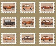 Rétro collection de véhicules d'estampille Photographie stock libre de droits