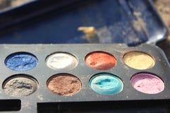 Rétro composez, mode de 60s 70s, bleu, blanc, lumineux Photographie stock