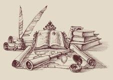 Rétro composition en étude et en exploration illustration libre de droits