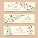 Rétro concept de bannières de fleur Illustration de vecteur Images stock