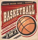 Rétro conception d'affiche de basket-ball Photo stock