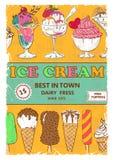 Rétro conception d'affiche de crème glacée  Photographie stock libre de droits