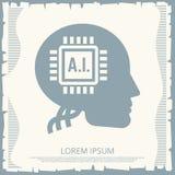 Rétro conception d'affiche de cyborgs avec la puce dans la tête humaine illustration libre de droits