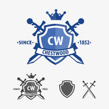 Rétro conception de logo d'insignes et de boucliers d'épée Image stock