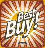 Rétro conception de signe de bidon de Best buy Photographie stock