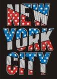 Rétro conception de typographie de drapeau de New York City, vecteur Photos stock