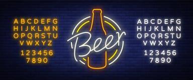 Rétro conception de vintage original d'un logo de style du néon pour une maison de bière, bar de barre Images libres de droits