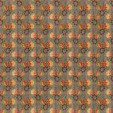 Rétro configuration jaune rouge de papier peint de répétition de Brown Photos libres de droits