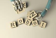 Rétro construction de main de robot avec les cubes en bois en ABC sur le floore rende 3D Images stock