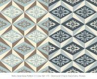 Rétro couleur sans couture Set_173 Diamond Check Geometry Flower du modèle 2 illustration stock