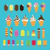 Rétro crème glacée de pixel de collection dans le vecteur illustration stock