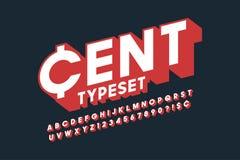 Rétro création de fonte de l'affichage 3d, alphabet, lettres Photographie stock libre de droits
