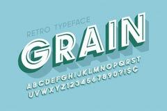 Rétro création de fonte rayée de l'affichage 3d, alphabet, lettres Images libres de droits