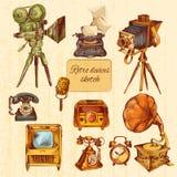 Rétro croquis de dispositifs coloré illustration libre de droits