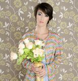 Rétro cru de mode de la verticale 60s de femme Images stock