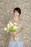 Rétro cru de mode de la verticale 60s de femme Image libre de droits