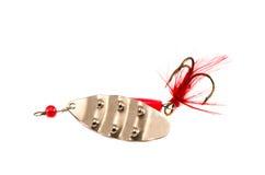 Rétro cuillère-amorce d'isolement avec le crochet de trident Photo stock