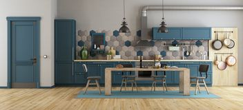 Rétro cuisine bleue illustration libre de droits