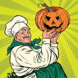 Rétro cuisinier avec le potiron Halloween illustration de vecteur