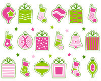 Rétro décorations de Noël réglées Image libre de droits