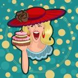 Rétro dame avec le gâteau illustration libre de droits