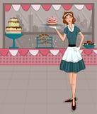 Rétro dame dans la boutique de boulangerie illustration stock