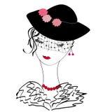 Rétro dame dans un chapeau Image libre de droits