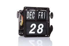 Rétro date de calendrier mécanique d'isolement Photographie stock libre de droits