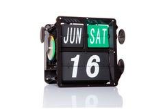 Rétro date de calendrier mécanique d'isolement Photo libre de droits
