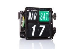 Rétro date de calendrier mécanique d'isolement Image libre de droits