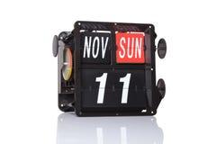 Rétro date de calendrier mécanique d'isolement Images libres de droits