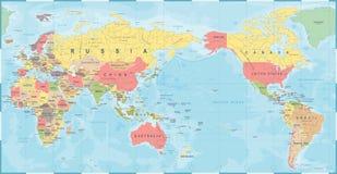 Rétro de vintage de carte du monde vieux - l'Asie au centre illustration stock