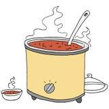 Rétro dessin de crockpot de piment Photos stock