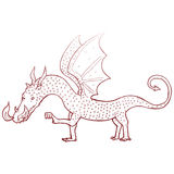 rétro dessin de dragon de bande dessinée Image stock