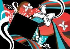 Rétro dessin rouge et bleu génial Photos stock