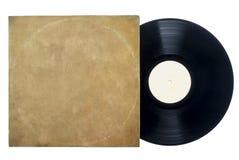Rétro disque vinyle de long jeu avec la douille. Photos libres de droits