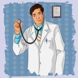 Rétro docteur avec le stethescope Photo libre de droits